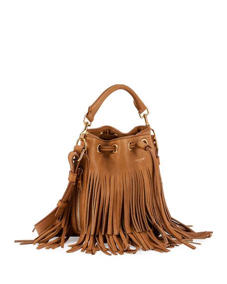 fbbab685c9 Saint Laurent Emmanuelle Small Suede Fringe Bucket Bag