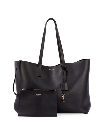 Large Shopping Tote Bag w/ Painted Edges, Black (Noir)