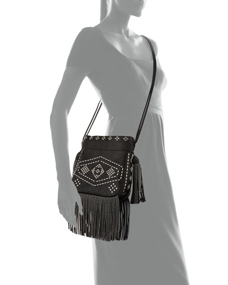 b32c92d06b5 Saint Laurent Helena Monogram Studded Fringe Bucket Bag, Black