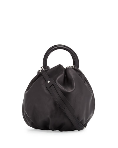 Lamb Leather Bounce Shoulder Bag, Black