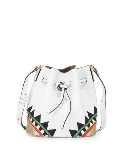 Daliah Geometric Leather Bucket Bag, White