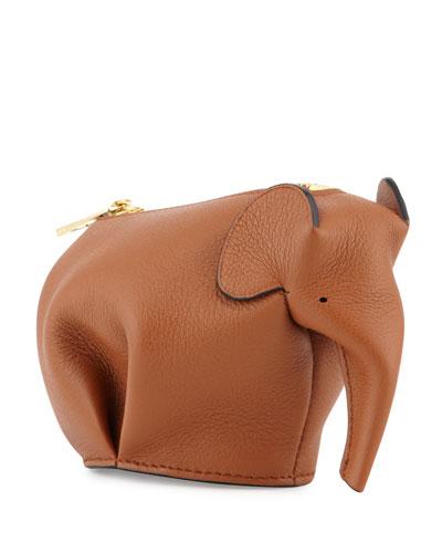 Leather Elephant Coin Purse, Tan