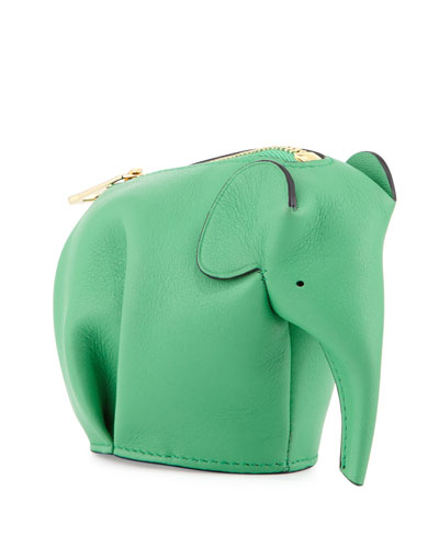 Leather Elephant Coin Purse, Green