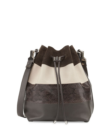 Leather & Python Paneled Bucket Bag, Gray