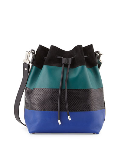 Leather & Python Paneled Bucket Bag, Blue