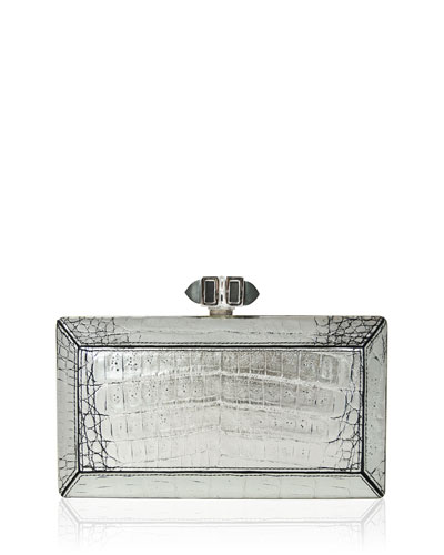 East-West Crocodile Coffered Clutch Bag, Silver
