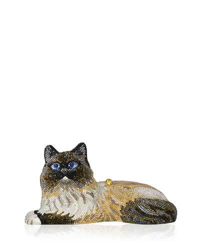 Fluffy Cat Crystal Minaudiere, Champagne