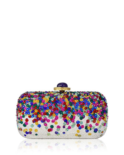 Soap Dish Crystal Clutch Bag, Champagne/Multi