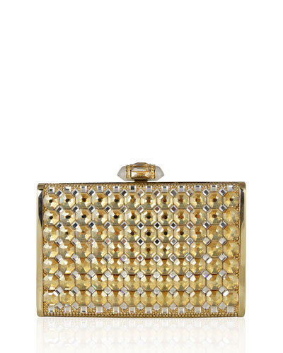 Tall Slender Rectangle Clutch Bag, Champagne