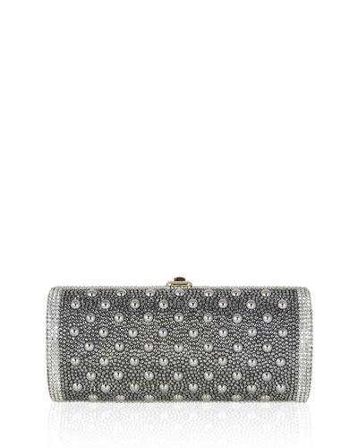 Cylinder Beaded East-West Clutch Bag, Silver Night