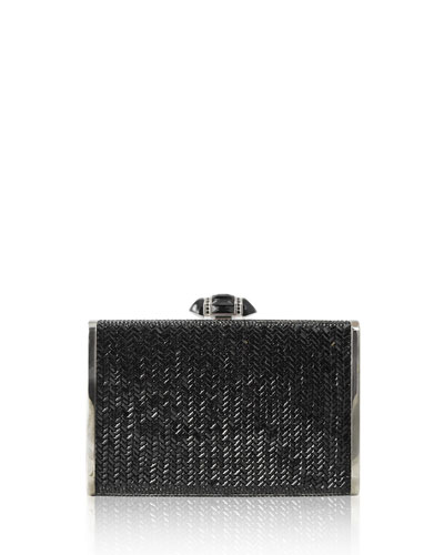 Tall Slender Herringbone Crystal Clutch Bag