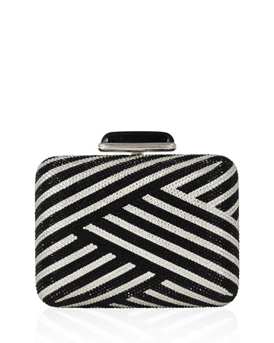 Striped Slim Crystal Clutch Bag, Jet