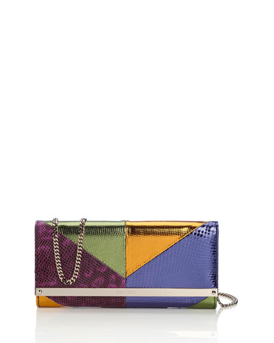 Milla Patchwork Snakeskin Clutch Bag, Boho Purple Mix