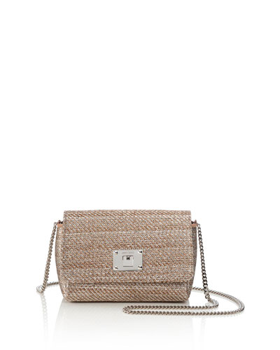 Ruby Woven Lamé Shoulder Bag, Champagne