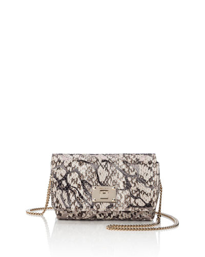 Ruby Snakeskin Shoulder Bag, Natural