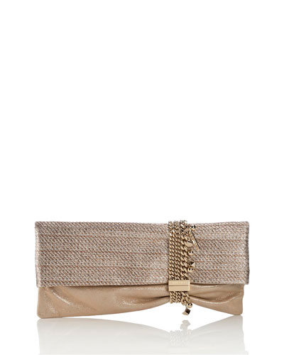 Chandra Woven Lamé Clutch Bag, Champagne/Sand