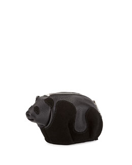 Leather Panda Coin Purse, Black