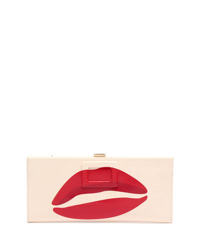 Kiss-Print Patent Pilgrim Clutch Bag, White