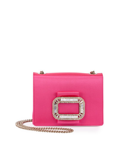 Tiffany Silk Micro-Chain Shoulder Bag, Bubble Gum Pink