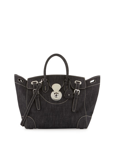 Denim Ricky 33 Satchel Bag, Black