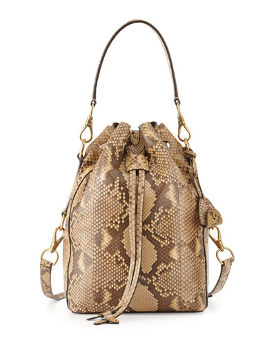 Small Ricky Python Bucket Bag, Tan