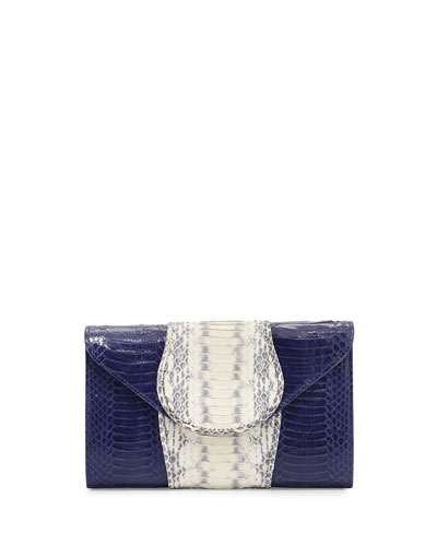 Babo Watersnake Envelope Clutch Bag, Marine