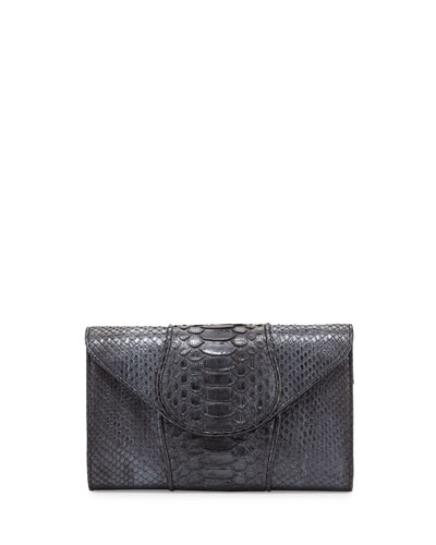 Babo Python Envelope Clutch Bag, Gunmetal