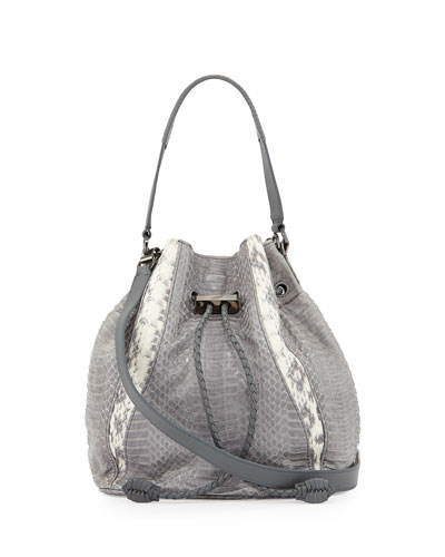 Edem Watersnake Mini Bucket Bag, Gray/Natural