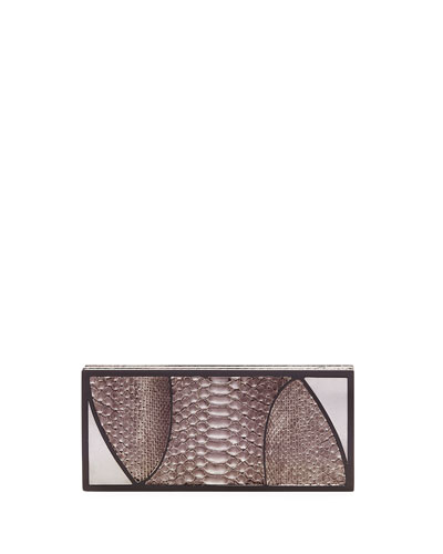 Marchese Python Box Clutch Bag, Gunmetal