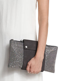 Large Monili Clutch Bag, Dark Gray