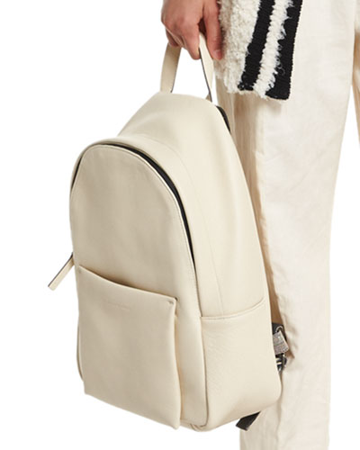Pebbled Leather Backpack, Cream