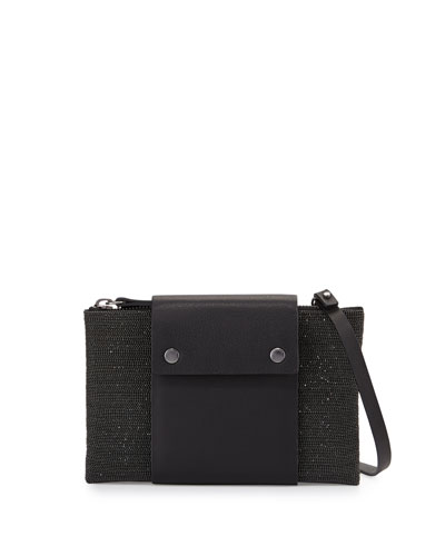 Leather-Tab Small Monili Crossbody Pouch, Black
