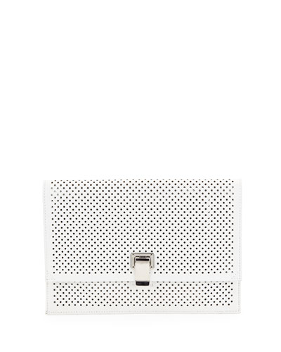 Small Perforated Leather Lunch Bag, Optic White