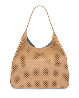 Suede Perforated Shoulder Bag, Tan (Cammello)
