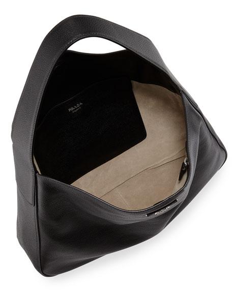 prada vitello daino leather medium wide-strap hobo bag