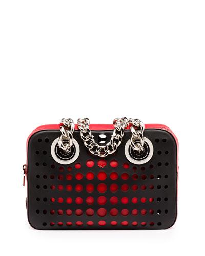 City Fori Perforated Chain Shoulder Bag, Black/Orange/Red (Nero+Lacca)