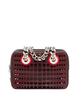 City Fori Perforated Chain Shoulder Bag, Bordeaux/Black (Bordeaux+Nero)