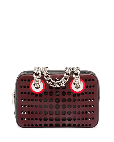 City Fori Perforated Chain Shoulder Bag, Bordeaux/Black (Bordeaux+Nero)