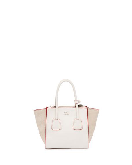 8a104f4b6b2 Prada Calfskin and Suede Mini Twin-Pocket Tote Bag, White (Talco)