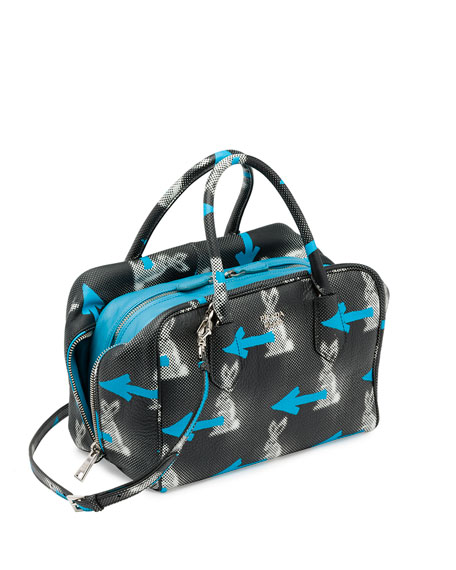 963dc3763ab0 Prada Daino St. Rabbits Inside Bag, Black/Blue (Nero+Azzurro)