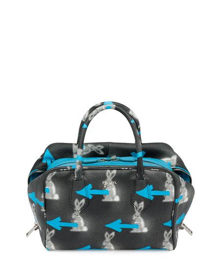 Prada Soft Calfskin North-South Tote Bag, Black/Light Blue (Nero+ ...