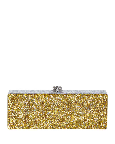 Flavia Ribbon Acrylic Clutch Bag, Golden Confetti