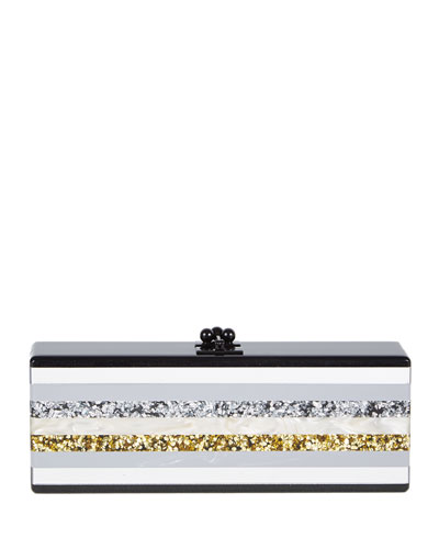 Flavia Striped Acrylic Clutch Bag, Obsidian Sand/Multi