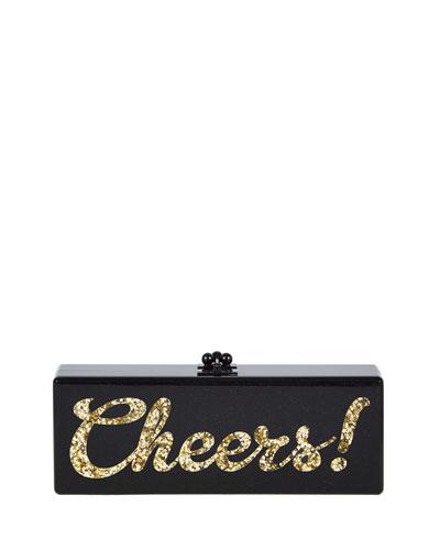 Flavia Cheers Acrylic Clutch Bag, Obsidian Sand
