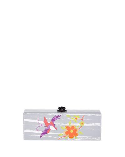 Flavia Garden Acrylic Clutch Bag, Nude