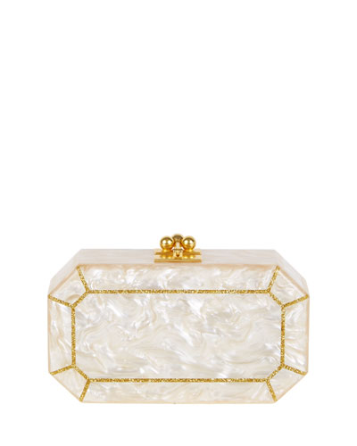 Fiona Faceted Acrylic Clutch Bag, Nude/Golden