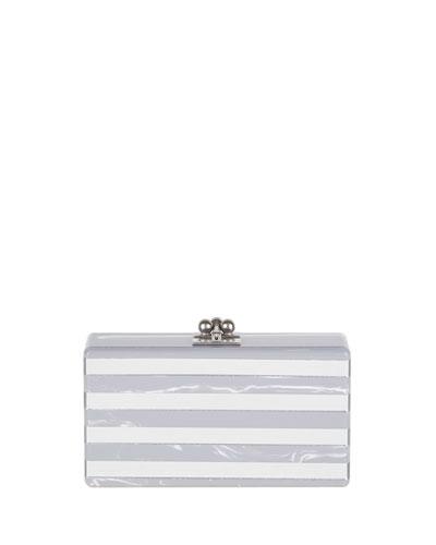 Jean Confetti-Striped Box Clutch Bag, Gray Flannel