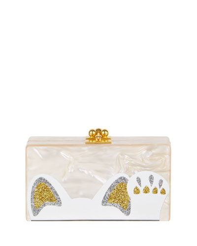 Jean Beckoning Cat Clutch Bag, Nude