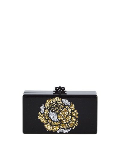 Jean Metallic Flower Acrylic Clutch Bag, Obsidian Sand