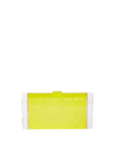 Lara Acrylic Backlit Clutch Bag, Acid Yellow/Nude